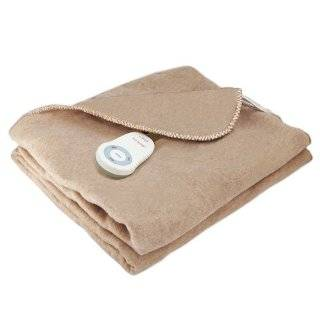 Sunbeam Dynasty Cuddle Up Fleece Heated Throw Electric Warming Blanket, Mushroom Beige   Bed Blankets