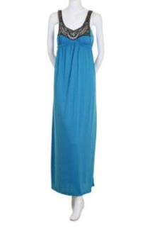 Bailey Blue Beaded Sequins Embellished Soft Jersey Cinched Empire Waist Sleeveless Tank Long Maxi Dress Turquoise Large at  Women�s Clothing store