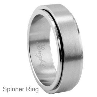 Personalized 8mm Stainless Steel Spinner Ring   Free Engraving: Jewelry