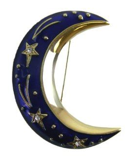Crescent Moon Blue Enamel Twilight Theme Pin Toys & Games