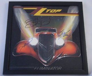 ZZ Top Eliminator Billy Gibbons Dusty Hill Frank Beard Signed Autographed Lp Record Album Framed Loa Collectibles & Fine Art