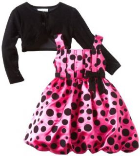 Bonnie Jean Girls 2 6X Shantung Dress with Flocked Dots And Stretch Velvet Cardigan, Fuschia, 6 Clothing