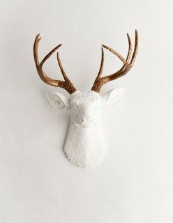 The Lydia  Resin Deer Head  White Deer Head w/ Bronze Metallic Antlers Wall Decor  Stag Head Wall Mount  Faux Taxidermy  Animal Head Wall Hanging Sculpture  Animal Mounts  Trophy Taxidermy