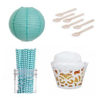 Dress My Cupcake Laser Cut Wrappers Dessert Table Party Kit with Lanterns, Diamond Blue Chevron Straws Kitchen & Dining