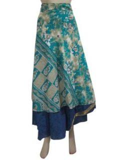 Long Wrap Skirt Green Printed Reversible Vintage Sari Sarong Skirts Dress: Clothing