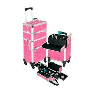 Pro Aluminum Makeup Case Pink 4 Wheeled Spinner Style No. TS 88R: Beauty