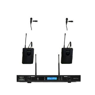 Awisco UHF 822l361 Dual Channel Lavalier Wireless Microphone Musical Instruments