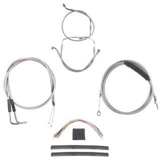 "Hill Country Customs Complete Stainless Cable Brake Line Kit for 16"" Handlebars 1996 2006 Harley Davidson Touring Models no Cruise HC CKC11416 SS Automotive"