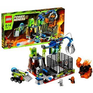 """Lego Year 2010 Power Miners Series Set # 8191   LAVATRAZ with Projectile Launcher, Hydro Blast Rover Vehicle and Movable Capture Crane Plus """"Vending Machine"""", Infernox Lava Monster, Giant Eruptorr Monster and 2 Power Miners Minifigures (Total Pie"""