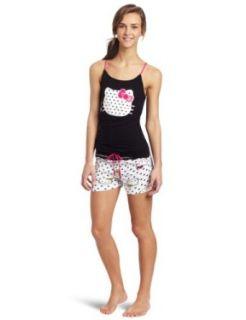Hello Kitty Junior's Hk Heart Print Short Set, Black/White, Medium Clothing