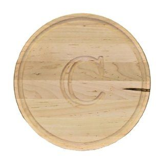 "CHUBBCO 110 C Thick Round Cutting Board, 16 Inch by 1 Inch, Monogrammed ""C"", Maple Kitchen & Dining"