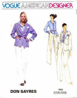 Vogue 1869 Sewing Pattern American Designer Don Sayres Jacket Belt Shirt Pants Handkerchief Size 10   Bust 32 1/2