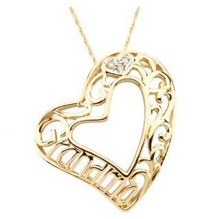 14Ky\Rhodium Plated 14Ky\Rhodium Plated Grandma Heart Pendant: Reeve and Knight: Jewelry