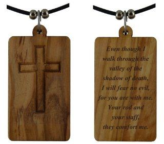 Psalm 234 Phrase and Cross Holy Land Olive wood Pendant Necklace