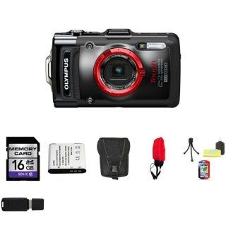 Olympus TG 1iHS 12 MP Waterproof Digital Camera with 4x Optical Zoom + 16GB SDHC Class 10 Memory Card + LI 90B Lithium Ion Battery Pack + Carrying Case + Durable Float Strap for Digital Cameras + Mini Tripod Kit + USB SDHC Reader : Point And Shoot Digital