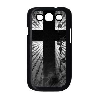 Black Samsung Galaxy S3 I9300 Custom Hard Cover Case   Christian Cross Jesus Christ Flowers: Cell Phones & Accessories