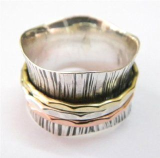SILVER BRASS COPPER SPINNER RING 925 SILVER JEWELRY HANDMADE RING SIZE 7.25 IAR1402: Jewelry