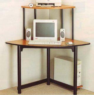 Black Metal & Natural Finish Wood Corner Computer Desk by Coaster Furniture   Home Office Desks