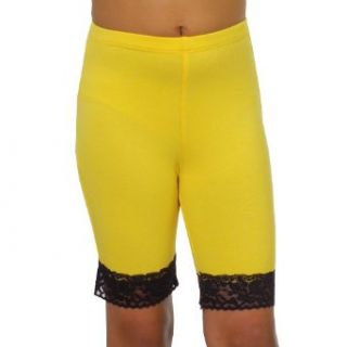 Lipstik Girls Cute Yellow/Black Lace Trim Designer Stretch Shorts 8 : Baby