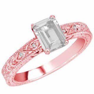 Ryan Jonathan 14K Yellow Gold Emerald Cut White Quartz and Round Diamond Engagement Ring (1 cttw, F G, SI1)   Size 8: Ryan Jonathan: Jewelry
