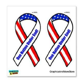 One Nation Under God  Support our Troops Ribbon   USA Flag   Set of 2   Window Bumper Locker Sticker: Automotive