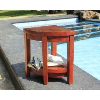 Decoteak Lift Aide Extended Teak Corner Spa Shower Bench