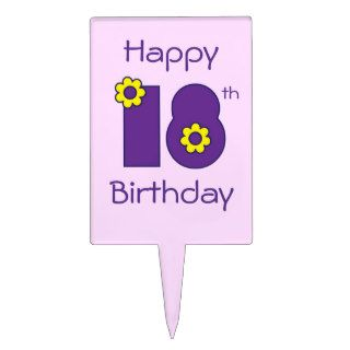 Happy 18th Birthday in Flores Purple Cake Pick