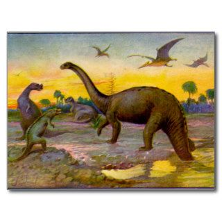 Dinosaur Pterodactyl / Brontosaurus Landscape Postcard