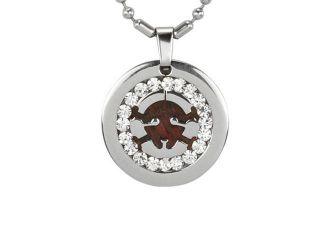 "Redwood Cubic Zirconia Skull Medallion Stainless Steel Pendant Necklace 16"""