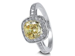 Sterling Silver Ring Canary Cushion Cubic Zirconia CZ Ring 2.56 ct.tw Women's Jewelry