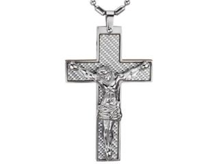 Carbon Fiber Crucifix Cross Jesus Christ Stainless Steel Pendant Necklace 20""