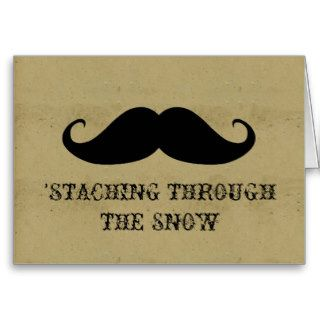 Funny hipster mustache holiday xmas mustaches greeting card