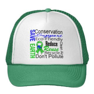 Save Earth Environment Awareness Collage Mesh Hats