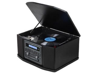 GF 550USB Turntable/Radio/CD/USB Recorder with Cassette Player Wood Cabinet