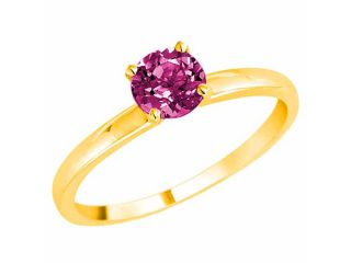 Ryan Jonathan 10K Yellow Gold Round Solitaire Pink Sapphire Ring (0.95 cttw)