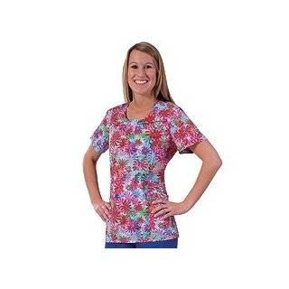 White Cross Uniforms 100% Cotton Tye Dye Daisy Jewel Neck Scrub Top