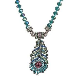 Spirit of Flight Peacock Feather Necklace By Kirks Folly (Silvertone