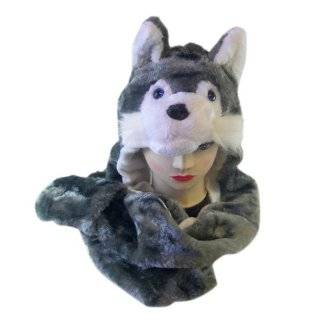 Plush Wolf Animal Hat   Wolf Hat with Ear Flaps and Hand Pockets